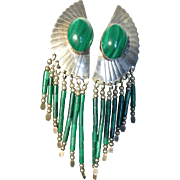 Vintage Navajo Indian Sterling Silver Malachite Earrings