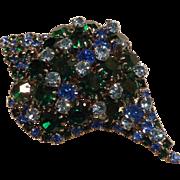 Vintage Schiaparelli Signed Blue Green Rhinestone Shell Brooch