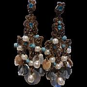 Vintage Fresh Water Pearl, Abalone, Crystal Bead Chandelier Earrings