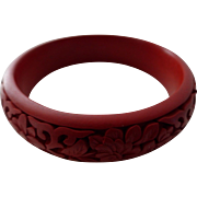 Vintage Chinese Red Cinnabar Carved Bangle Bracelet