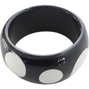 Vintage Lucite Bangle Bracelet, Black & White Polka Dot