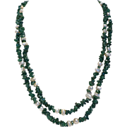 Long Genuine Jade and Pearl Necklace – 44″