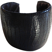 Genuine Lizard Skin Leather Cuff Bracelet