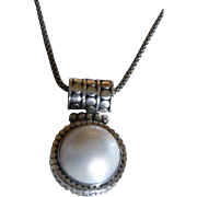 Vintage Mabe Pearl Sterling Silver Pendant Necklace