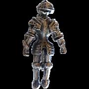 Vintage Sterling Silver Knight in Shining Armor Pin Brooch