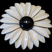 Big 1960's Flower Power Daisy Pin Enameled Metal Black & White