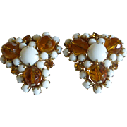 Vintage Large Gale Topaz Crystal and Milk Glass Earrings