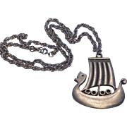 Rune Tennesmed Signed Pewter Swedish Viking Ship Pendant Necklace
