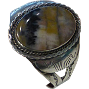 Vintage Navajo Indian Sterling Silver Petrified Wood Stone Cuff Bracelet