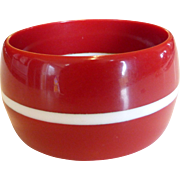 Vintage Wide Cherry Red & White Lucite Bangle Bracelet