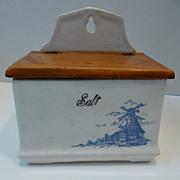 Vintage Blue & White Ceramic Salt Box with Wooden Lid