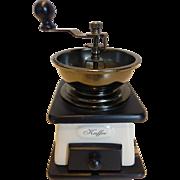 Vintage Coffee Mill Grinder Wood and Enamel Crank Countertop Germany