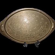 Vintage India Engraved Brass Serving Tray Platter