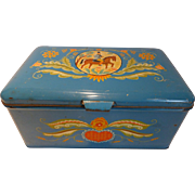 Vintage Tin Tole Paint Litho Box/Chest Norway