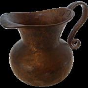 Vintage Hand Hammered Copper Creamer or Syrup Pitcher