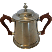 Kirk Stieff Pewter Sugar Pot w Lid Wood Handles