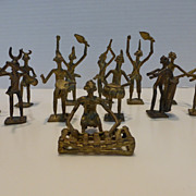 Primitive African Cast Metal Figures with Musical Instruments