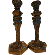 Antique Tall Barbola Gold Gesso Candlesticks Pair