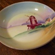 Vintage Meito China Hand Painted Windmill Scene Nappy