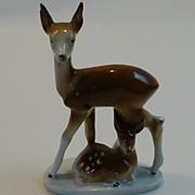 Vintage Carl Scheidig GDR Porcelain Doe and Fawn Figural East Germany