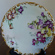 Antique Limoges France Tressemann and Vogt (T&V) Artist Signed Wild Pansies Plate