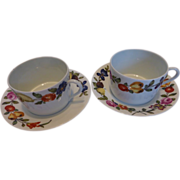 French Limoges Porcelaine Des Paris Les Quatre Saisons I Magnin Cups & Saucers Set of 2 ...