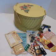Mid-Century Wicker Sewing Basket Hat Box Style