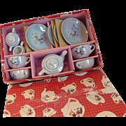 Luster Ware Child's Toy Tea Set Original Box Japan 13 pc