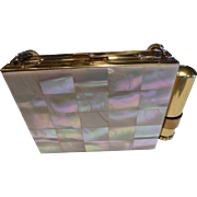 1940's  Carry-All Purse Compact Mother of Pearl