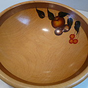 Vintage Large Wooden Footed Salad / Fruit Bowl w Hand Painted Fruit