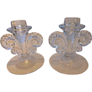 Fostoria Coronet-Clear Single Light Candlesticks PAIR