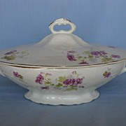 Early Hall China Covered Vegetable w/ Flower Design