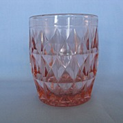 "SOLD Jeannette Glass Pink Windsor ""Windsor Diamond"" 5oz Tumbler"