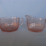 "Depression Glass Old Colony ""Lace Edge"" Cream And Sugar"