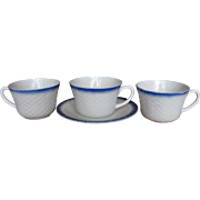 Fire King Blue Fish Scale Cups & Saucer