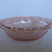 "Depression Glass Pink Old Colony ""Lace Edge"" Ribbed Bowl"