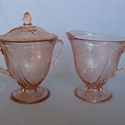 SOLD Depression Glass Pink Royal Lace Cream And Sugar w/ Lid