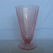 "Depression Glass Pink Floral ""Poinsettia"" Lemonade Tumbler"
