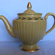 Hall China Los Angeles Teapot,  Mustard With Green Leaf Band Decoration