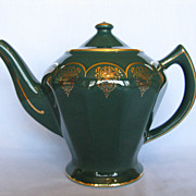 Hall China Albany Teapot Turquoise With Standard Gold