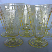 Depression Glass Topaz Yellow Footed Tumblers