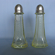 Depression Glass Topaz Yellow Princess Salt & Pepper Shakers