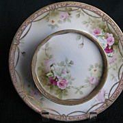 Early Hand Painted Nippon Plate and Bowl With Raised Gold Beading