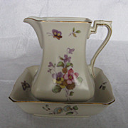 Lefton China Hand Painted Spring Bouquet Butterfly Small Pitcher and Bowl