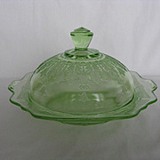 Hocking Glass Green Princess Butter Dish