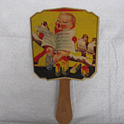 Vintage Hand Held Advertising Paper Board on A Stick Fan
