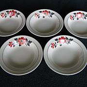 "Hall China Red Poppy 5-1/2"" Fruit Bowls"