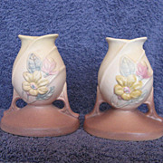 Hull Pottery Magnolia Candleholders 27-4