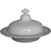 "Indiana Custard ""Flower And Leaf Band"" Butter Dish"