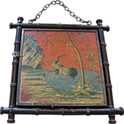 SOLD Antique Chinoiserie Tri-Fold Beveled Mirror